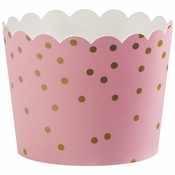 """1.5"""" x 2"""" Pink and Gold Dots Baking Cups 550 ct"""
