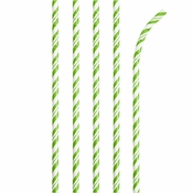 Bulk Fresh Lime and White Striped Flex Paper Straws 144 ct - Napkins.com