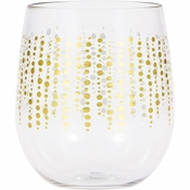 Glittering Gold Dots 14 oz Plastic Stemless Wine Glasses by Elise 6 ct