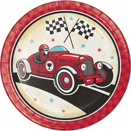 Vintage Race Car Dinner Plates 96 ct