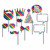 Rainbow Foil Photo Booth Props 60 ct