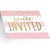 Pink and Gold Celebration Invitations 48 ct