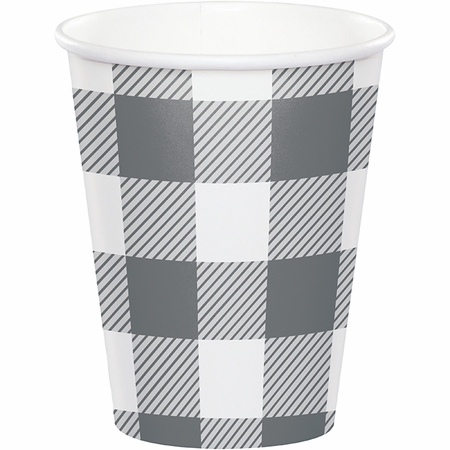 Gray and White Buffalo Check Cups 96 ct
