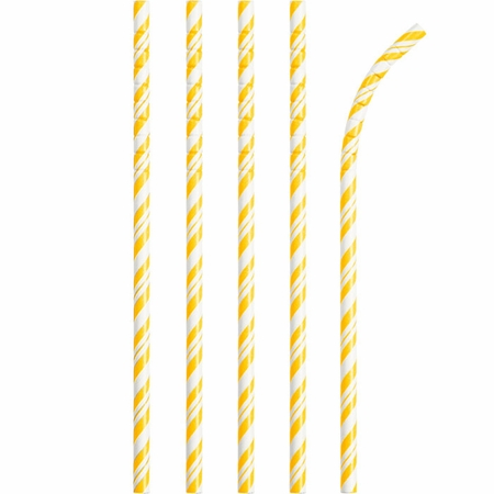 Bulk School Bus Yellow and White Striped Flex Paper Straws 144 ct - Napkins.com