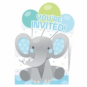 Enchanting Elephants Boy Invitations 48 ct