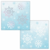 Snowflakes Iridescent Foil Beverage Napkins by Elise 288 ct