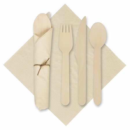 """6"""" x 6"""" Pre-rolled Tissue CaterWrap Kraft Napkins with Wood Cutlery 100 ct"""