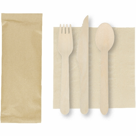 "6"" x 6"" Kraft Napkins with Wood Cutlery 500 ct"