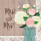 Rustic Wedding Mrs. & Mrs. Luncheon Napkins 192 ct