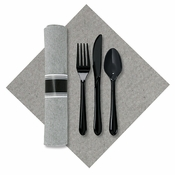 "7.5"" x 4.25"" Pre-rolled Linen-Like Natural CaterWrap Gray Onyx Dinner Napkins with Black Cutlery 100 ct"