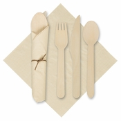 "6"" x 6"" Pre-rolled Tissue CaterWrap Kraft Napkins with Wood Cutlery 500 ct"