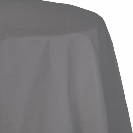 Glamour Gray Round Paper Tablecloths with Plastic Lining 12 ct