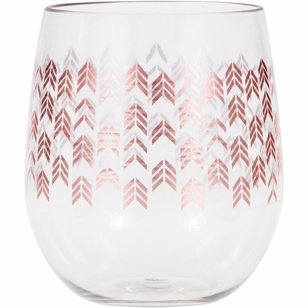 Rose Gold Chevron 14 oz Plastic Stemless Wine Glasses by Elise 6 ct