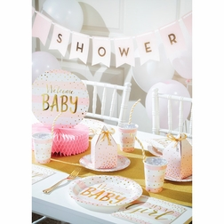 Pink and Gold Celebration Baby Shower Supplies