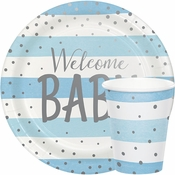 Blue and Silver Celebration Baby Shower Supplies