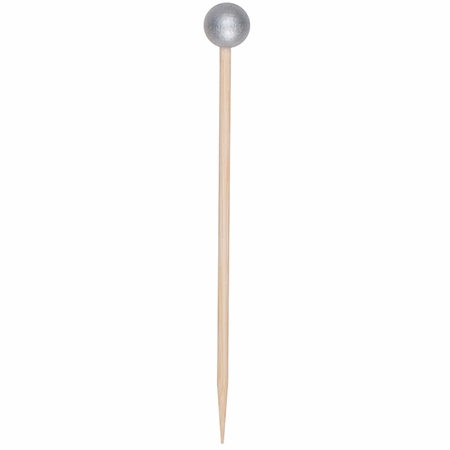 "3.5"" Silver Wood Ball Picks 500 ct"