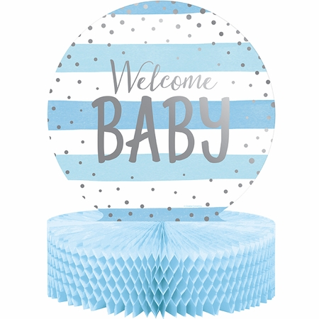 Blue and Silver Celebration Baby Shower Centerpieces 6 ct