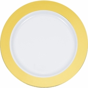 Gold Rim Plastic Dinner Plates 120 ct