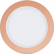 Rose Gold Rim Plastic Dinner Plates 120 ct