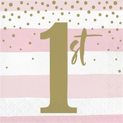 Pink and Gold Celebration 1st Birthday Luncheon Napkins 192 ct