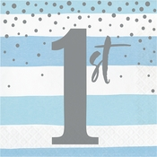 Blue and Silver Celebration 1st Birthday Luncheon Napkins 192 ct