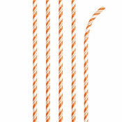 Bulk Sunkissed Orange and White Striped Flex Paper Straws 144 ct - Napkins.com