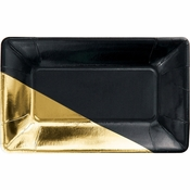 Black and Gold Foil Rectangular Appetizer Plates by Elise 48 ct