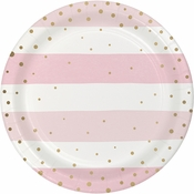 Pink and Gold Celebration Dessert Plates 96 ct
