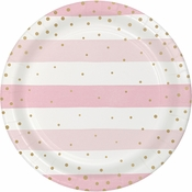 Pink and Gold Celebration Dinner Plates 96 ct