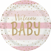 Pink and Gold Celebration Baby Shower Dinner Plates 96 ct