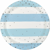 Blue and Silver Celebration Dessert Plates 96 ct