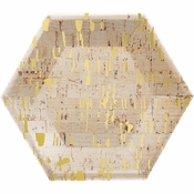 Gold and Cork Hexagon Foil Dessert Plates by Elise 48 ct