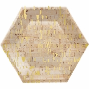 Gold and Cork Hexagon Foil Banquet Plates by Elise 48 ct