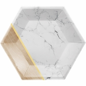 Marble Hexagon Foil Dessert Plates by Elise 48 ct