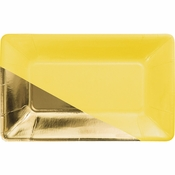 Yellow and Gold Foil Rectangular Appetizer Plates by Elise 48 ct