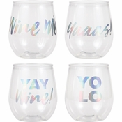 Iridescent Sayings 14 oz Plastic Stemless Wine Glasses Set by Elise 24 ct