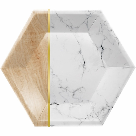 Marble Hexagon Foil Banquet Plates by Elise 48 ct