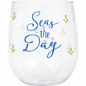 """""""Seas The Day"""" 14 oz Plastic Stemless Wine Glasses by Elise 6 ct"""