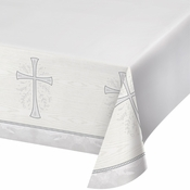 Divinity Silver Plastic Tablecloths 12 ct