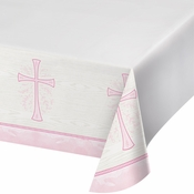Divinity Pink Plastic Tablecloths 12 ct