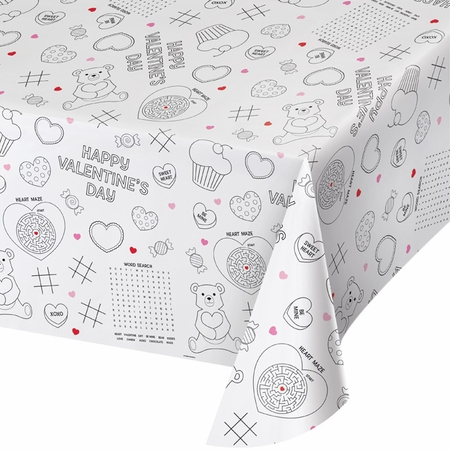 Valentines Day Activity Tablecloths 12 ct