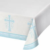 Divinity Blue Plastic Tablecloths 12 ct
