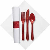 Red Glitz Fashnpoint Caterwrap with Red Glitz Cutlery sold in quantities of 50 per pkg / 2 pkgs per case