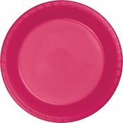 Touch of Color Hot Magenta Plastic Dinner Plates in quantities of 20 / pkg, 12 pkgs / case