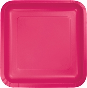 Touch of Color Hot Magenta Square Dessert Plates in quantities of 18 / pkg, 10 pkgs / case