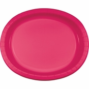 Hot Magenta Oval Platters sold in quantities of 8 / pkg, 12 pkgs / case.