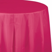Touch of Color Hot Magenta Octy-Round Plastic Tablecloths in quantities of 1 / pkg, 12 pkgs / case