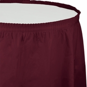 Touch of Color Burgundy Plastic Tableskirt in quantities of 1 / pkg, 6 pkgs / case