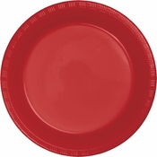 Touch of Color Classic Red Plastic Dinner Plates in quantities of 20 / pkg, 12 pkgs / case