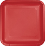 Touch of Color Classic Red Square Dessert Plates in quantities of 18 / pkg, 10 pkgs / case